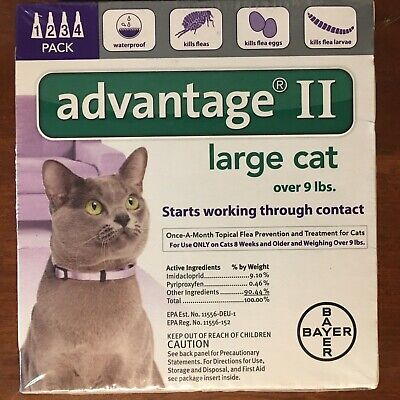 Bayer Advantage II For Large Cats, Purple, Over 9lbs 4-Pk. USA VERSION NEW