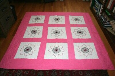 Antique/Vintage Hand Made and Pink, White and Black Embroidered Quilt