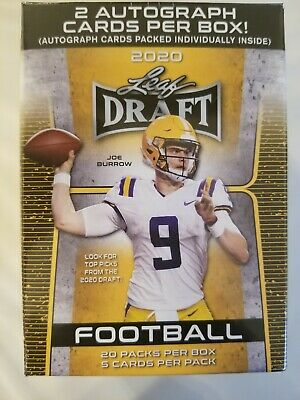 2020 Leaf Draft Football Factory Sealed Blaster Box- 20 Packs - 2 Autographs