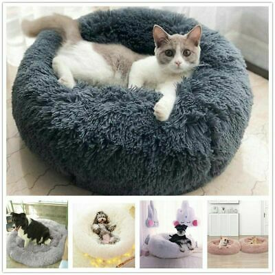 Donut Pet Dog Cat Bed Fluffy Plush Soft Warm Calming Bed Sleeping Kennel Nest