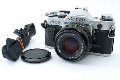 FedEX OK [Excellent] Canon AE-1 SLR Camera w/New FD 50mm f/1.8 From Japan