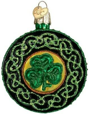 Old World Christmas 36116 Glass Blown Celtic Brooch Ornament