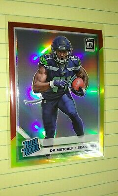 2019 Donruss Optic DK Metcalf Rated Rookie Red & Yellow Prizm #163 Seahawks