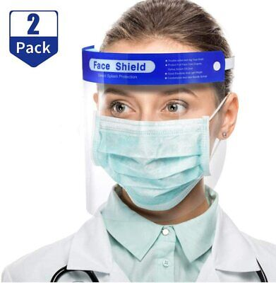 2 PCS Safety Full Face Shield Reusable Washable Protection Cover Face Easy Use