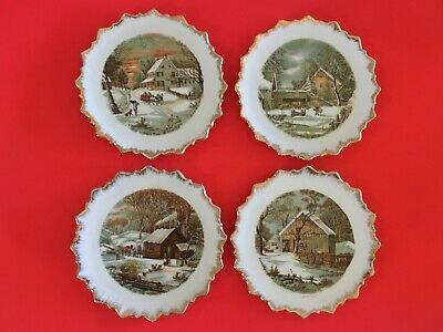 """Currier & Ives   """"Homestead in the Winter""""    set of 4 decorative plates"""