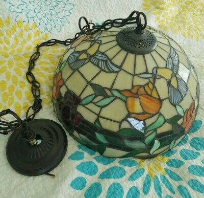Large Tiffany Style Stained Hanging Glass Lamp Hummingbirds Flowers w/Chain/Wire