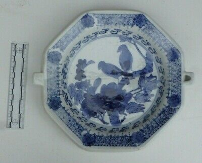 Antique Chinese Blue & White Export Ware Warming Plate Dish Birds on Branch