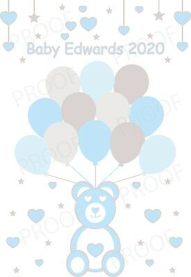 Personalised Baby shower guestbook Fingerprint Thumbprint print A4