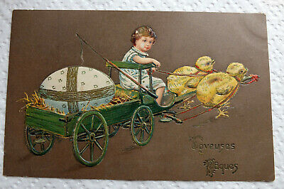 Carte postale Pâques poussins - relief  - Easter postcard embossed