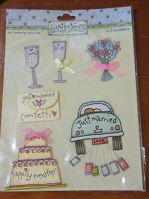 Paper House EAT BE MARRIED 3-D Multi-Layered Stickers scrapbooking DRINK