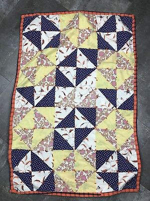 """Quilt Hand Made Baby Blanket Vintage Triangle Scraps Tacked 44"""" x 31"""""""