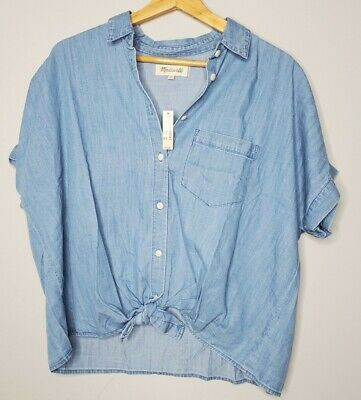 New Madewell Top Size Medium Denim Tie-Front Shirt Women NWT