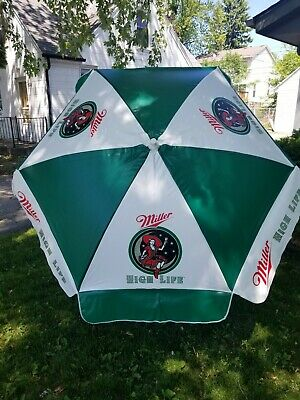 (L@@K) miller high life beer girl on the moon outdoor patio bar umbrella new