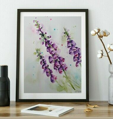 New Large Signed ORIGINAL nature ART watercolour floral painting of Foxgloves
