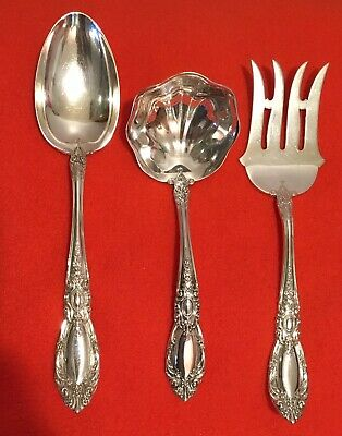 3 Towle King Richard Sterling Serving Pieces - Spoon, Fork, Ladle