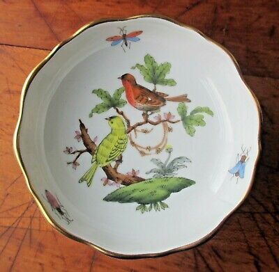 FLAWLESS Unused Herend Rothchild Footed Candy Dish, Hand Painted Birds 7720 / RO
