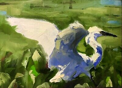 Original ACEO Miniature Oil Painting, Bird, Egret by Gary Bruton