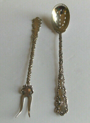 2 pc Wallace Sterling Waverly Pattern Pickle Fork and Olive Spoon