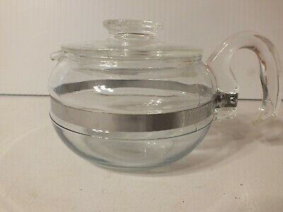 """Vintage """"PYREX"""" Teapot Flameware 8446-B Glass 6 Cup Stovetop Kettle With Lid"""