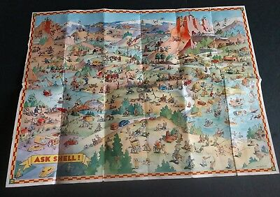 Vintage Shell Oil Touring Service Cartoon Trip Planning Map Artist Don Bloodgood
