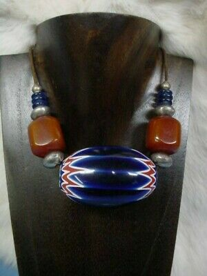Spectacular! Cobalt Blue ~ Chinese Glass Chevron & African Amber Necklace