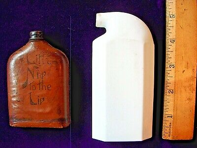 """VINTAGE ANTIQUE 1910 LEATHER COVERED WHISKEY FLASK """"Little Nip to the Lip"""""""