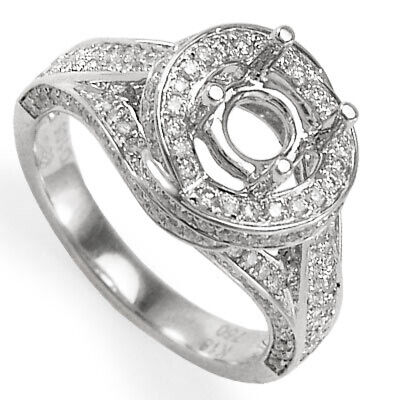 18k Solid White Gold Diamond Engagement Ring Semi-Mount #R1052