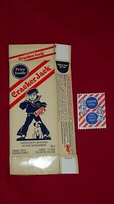 Vintage box wrapper CRACKER JACK boy and dog pictured dated 1968 unused n-mint