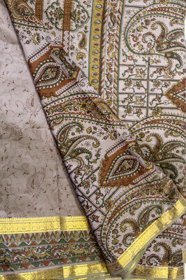 Vintage Indian Pure Silk Saree Wrap Sarong Printed Sari Ethnic Traditional Textile Recycle Fabric Recycle Clothing Dress Material PSS11636