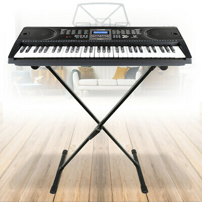 Max Electric Keyboard Digital Music Piano 61 Key Instrument with Folding Stand