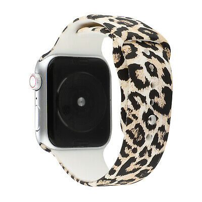 For Apple Watch Series 6 5 4 3 2 1 Silicone Leopard Print Watch Band Wrist Strap