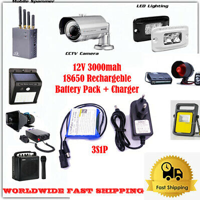DC 12v 3000mah 18650 Li-ion Rechargeable Battery Pack + Charger Portable Devices