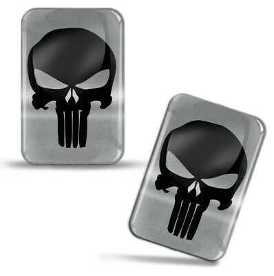 2 x 3D Domed Silicone Stickers Decals Skull Car Motorcycle Helmet KS 117