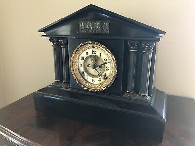 Antique American Ansonia marble effect cast iron 19th century mantle clock