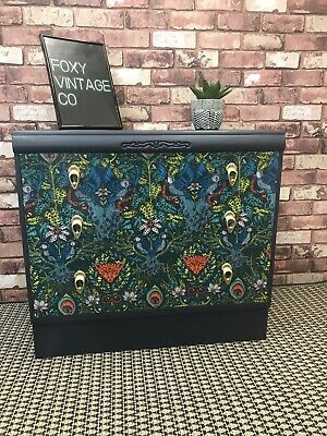 Upcycled Emma J Shipley Vintage Retro Chest Of Drawers In Amazon Print Blue