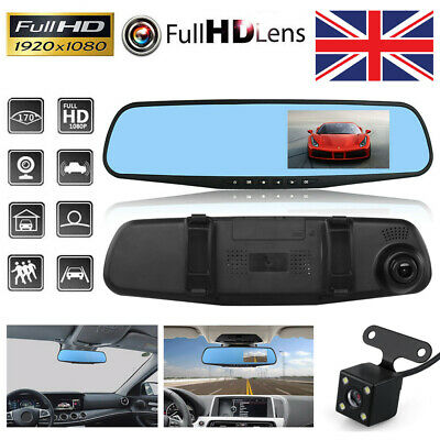 "1080P Dash Camera 4.3"" Front and Rear Car DVR Cam Reverse Mirror Video Recorder"