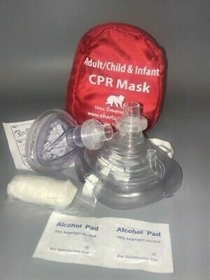 Cpr Mask In Soft Case With Gloves - Adult/Child And Separate Mask For Infants