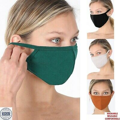 Soft Cotton Face Mask Double Layer with pocket Reusable Washable Mens Women