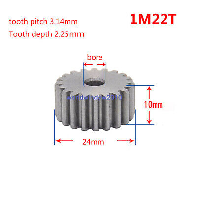 45# Steel Spur Motor Pinion Gear 1Mod 24T Outer Diameter 26mm Bore 5mm Qty 1