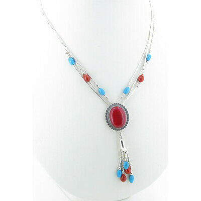 Designer Jewelry Red Onyx Sterling Silver Overlay 30 Grams Oxidized Necklace 17-18