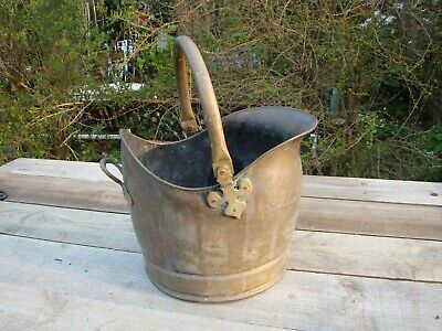 Vintage Large Heavy Brass Helmet Coal Scuttle Jardiniere Planter