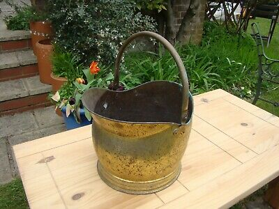 Vintage Large Heavy Brass / Copper? Helmet Coal Scuttle Jardiniere Planter