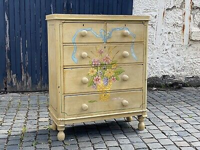 Victorian Chest Of Drawers With Original Cream Paint & Flower Bouquet Front