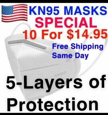 KN95 Protective Anti Flu Bacteria Pollen Droplet  Approved Face Mask 10 K N95