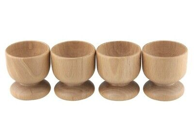 Apollo Housewares Beech Wood Wooden Breakfast Boiled Egg Egg Cups - Set of 4 New