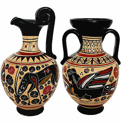 Set of 2 Corinthian Art vases 11,5cm,Ancient  Greek Pottery