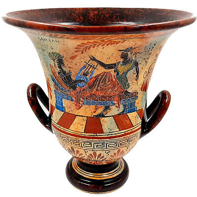 Krater 26cm,Ancient Greek Pottery, God Apollo with Godess Aphrodite,God Hermes