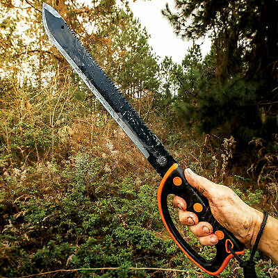 Sawback HUNTING MACHETE SURVIVAL Military CAMPING  Fixed Blade Knife SWORD