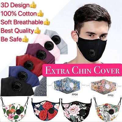 100% Cotton Face Mask + 2 Filters /Washable Reusable Activated Carbon respirator