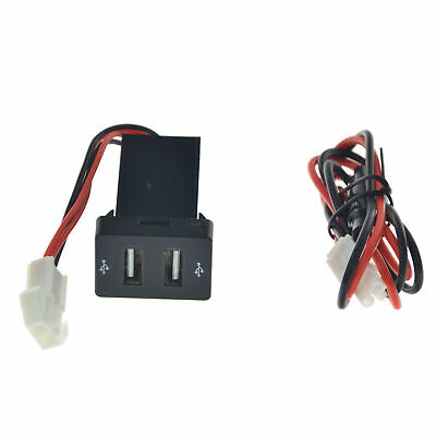 12V Twin Dual Double Port 2 USB In Car Socket Lighter Charger Adapter For Toyota